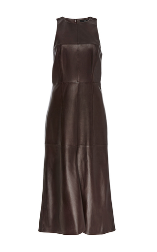 Lambskin leather fluted sleeveless maxi dress by TIBI Now Available on Moda Operandi