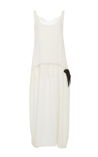 White silk lace trimmed sleeveless dress by TOME Now Available on Moda Operandi