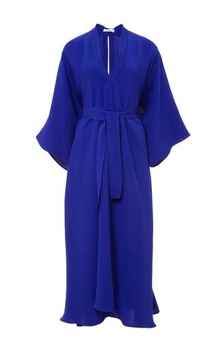 Cobalt blue silk crepe v neck dress by TOME Now Available on Moda Operandi