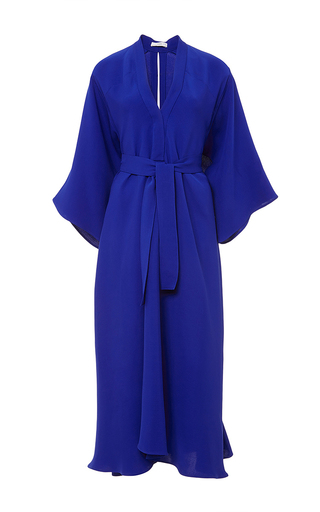 Cobalt blue silk crepe v neck dress by TOME Now Available on Moda Operandi