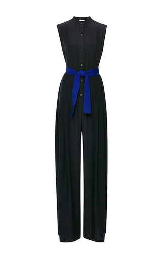 Navy silk charmeuse romper by TOME Now Available on Moda Operandi