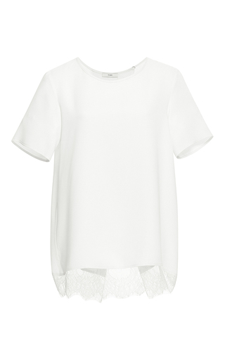 White silk crepe blouse with lace by TOME Now Available on Moda Operandi
