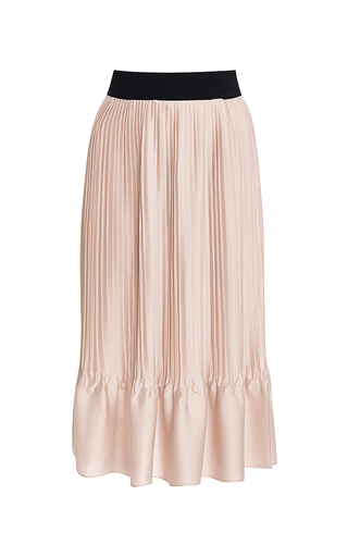Pink satin pleated elastic waist skirt by TOME Now Available on Moda Operandi
