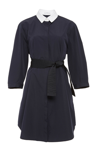 Navy cotton shirt dress with contrast collar  by TOME Now Available on Moda Operandi