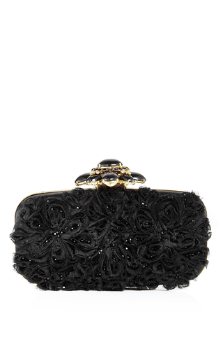 Black satin embellished goa evening clutch by OSCAR DE LA RENTA Available Now on Moda Operandi