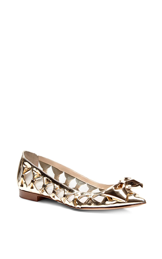 Metallic specchio goat leather trina bow flats by OSCAR DE LA RENTA Now Available on Moda Operandi