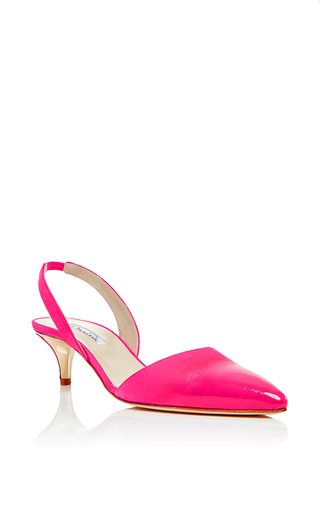 Pink goat leather samie slingback heels by OSCAR DE LA RENTA Now Available on Moda Operandi
