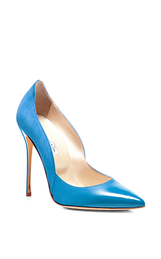 Blue sabrina suede and patent pumps by OSCAR DE LA RENTA Available Now on Moda Operandi