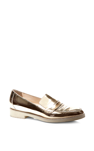 Metallic goat leather loafers with crystals by OSCAR DE LA RENTA Now Available on Moda Operandi