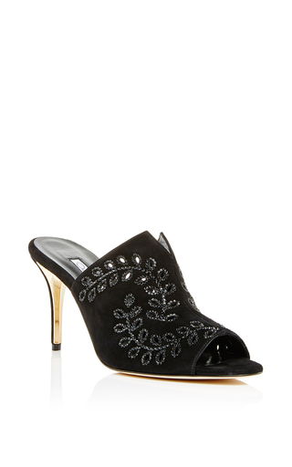 Goat leather ellery embroidered crystal mules by OSCAR DE LA RENTA Now Available on Moda Operandi
