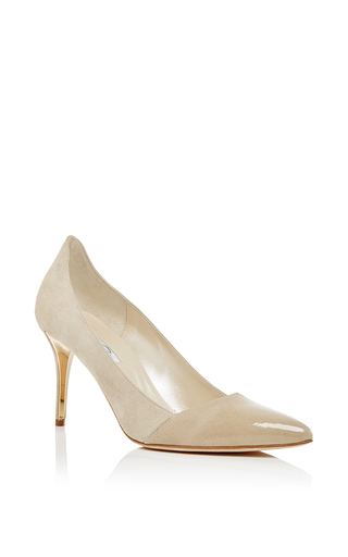 Nude goat leather tami suede to patent pumps by OSCAR DE LA RENTA Now Available on Moda Operandi