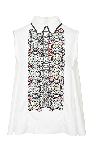 White sleeveless atom button down blouse  by PETER PILOTTO Now Available on Moda Operandi