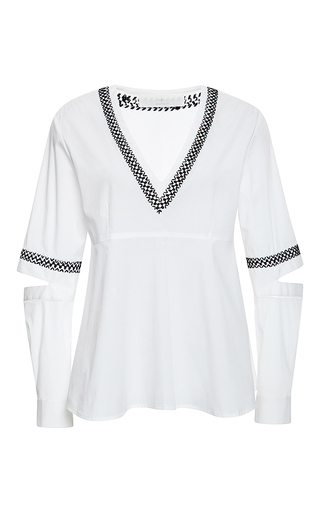 Embroidered Cotton Poplin Shirt by THAKOON ADDITION Now Available on Moda Operandi