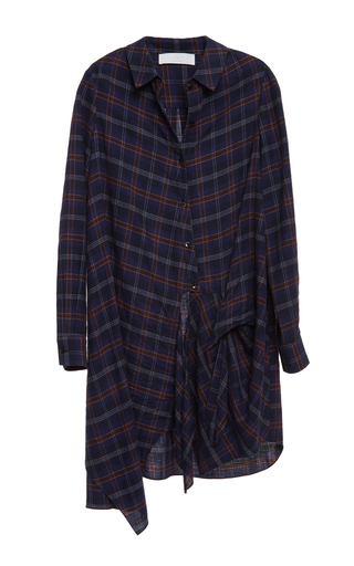 Long Sleeved Flannel Side Tie Dress by THAKOON ADDITION Now Available on Moda Operandi