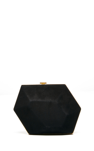 Black suede minaudiere diamant with gold closing by NINA RICCI Available Now on Moda Operandi