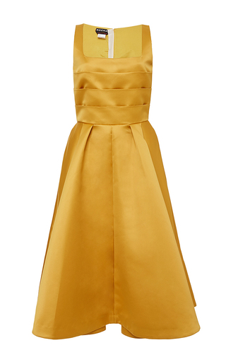 Dark yellow sleeveless cocktail dress by ROCHAS Now Available on Moda Operandi