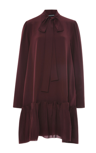 Burgundy Silk Crepe Bow Neck Dress by ROCHAS Now Available on Moda Operandi