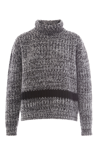 Wool alpaca oversized cableknit turtleneck sweater by ROCHAS Now Available on Moda Operandi