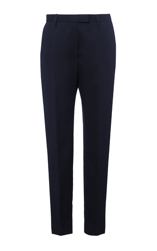 Navy skinny tuxedo striped pants by ROCHAS Now Available on Moda Operandi
