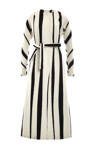 Striped Wool And Silk Blend Maxi Belted Coat by ROCHAS Now Available on Moda Operandi