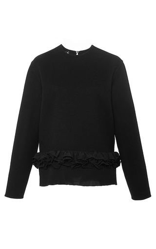 Black wool and angora ruffle sweater by ROCHAS Now Available on Moda Operandi