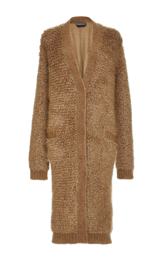 Virgin wool blend oversized cardigan with jacquard back by ROCHAS Now Available on Moda Operandi