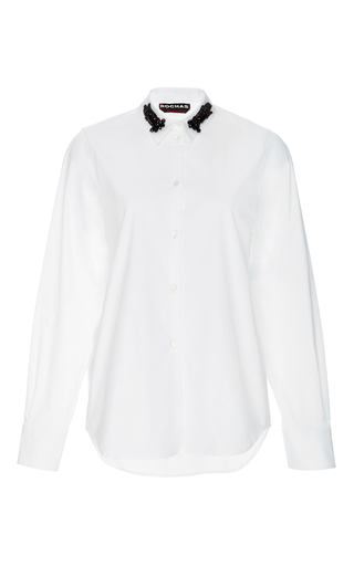 White cotton beaded collar shirt by ROCHAS Now Available on Moda Operandi