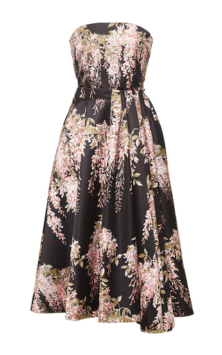 Strapless midi wisteria printed dress by ROCHAS Now Available on Moda Operandi