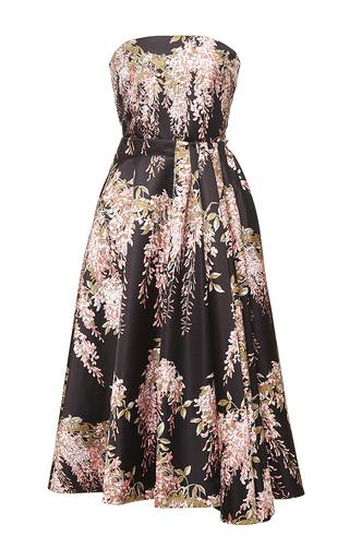 Strapless midi wisteria printed dress by ROCHAS Now Available on Moda Operandi