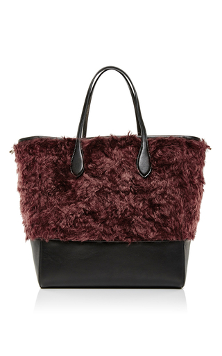 Red mohair and calf leather tote bag by ROCHAS Now Available on Moda Operandi