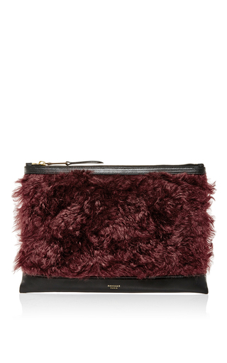 Red mohair and calf leather zip clutch by ROCHAS Now Available on Moda Operandi