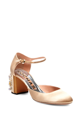 Satin embellished heel mary janes by ROCHAS Now Available on Moda Operandi