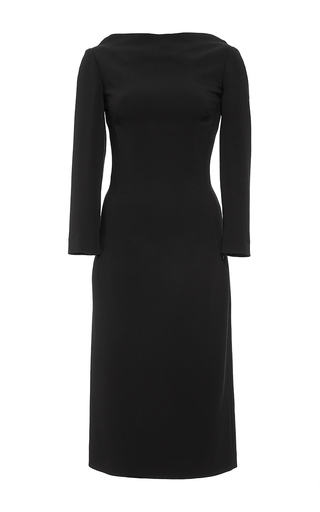 Black longsleeve wool midi dress by ANTONIO BERARDI Available Now on Moda Operandi