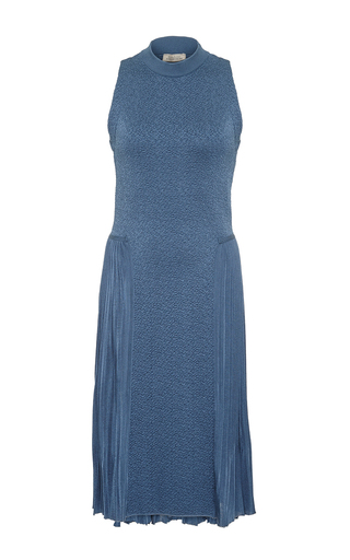 Blue petrol sleeveless midlength dress by NINA RICCI Now Available on Moda Operandi