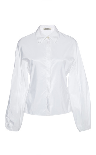 White wide sleeve button down blouse by NINA RICCI Now Available on Moda Operandi