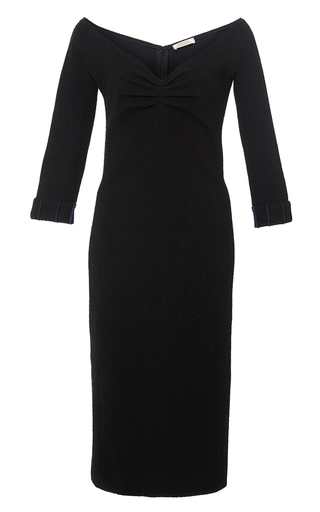 Black off the shoulder fitted midi dress by NINA RICCI Now Available on Moda Operandi