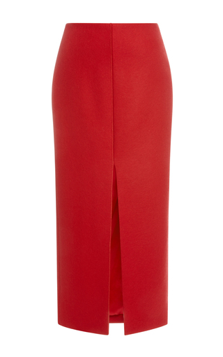 Red wool blend pencil skirt  by CARVEN Now Available on Moda Operandi