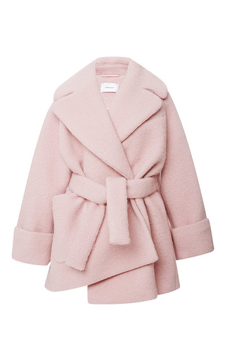 Pink wool manteau court coat by CARVEN Now Available on Moda Operandi