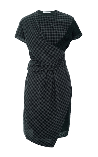 Asymmetric Plaid Dress With Lace Details by CARVEN Now Available on Moda Operandi