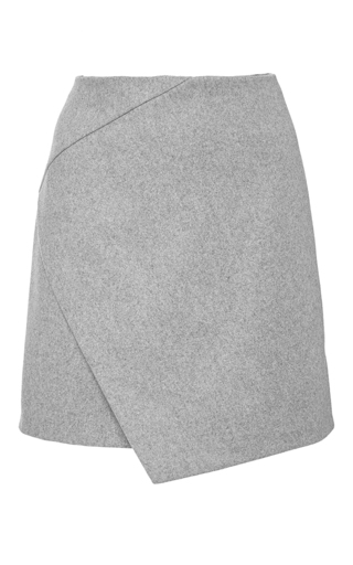 Grey wool blend draped mini skirt by CARVEN Now Available on Moda Operandi