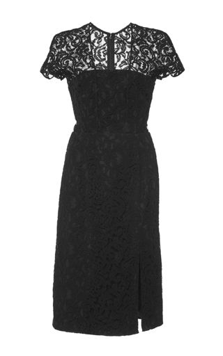 Black lace short sleeved dress by CARVEN Now Available on Moda Operandi