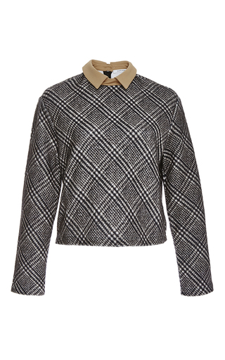 Cotton check top with collar  by CARVEN Now Available on Moda Operandi