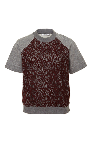Lace overlay short sleeved sweater  by CARVEN Now Available on Moda Operandi