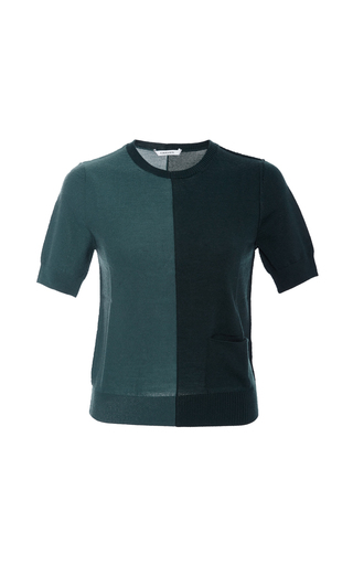 Short Sleeved Bicolor Sweater  by CARVEN Now Available on Moda Operandi