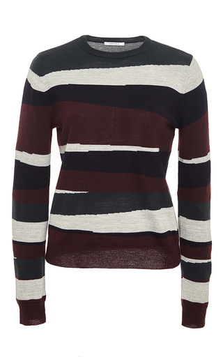 Long sleeved striped crewneck sweater by CARVEN Now Available on Moda Operandi