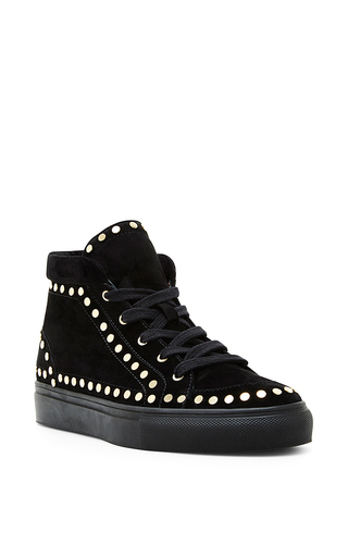 Hugh black studded velvet sneakers by LAURENCE DACADE Now Available on Moda Operandi