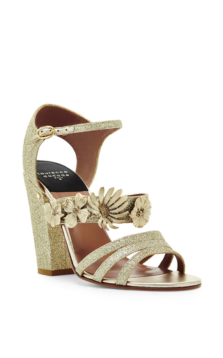 Jasmine gold glitter appliqué sandals by LAURENCE DACADE Now Available on Moda Operandi