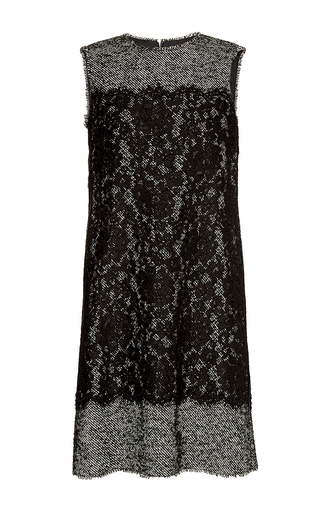 Sleeveless tweed and lace shift dress by DOLCE & GABBANA Now Available on Moda Operandi