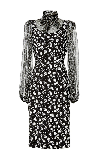 Silk Tie Neck Printed Dress by DOLCE & GABBANA Now Available on Moda Operandi