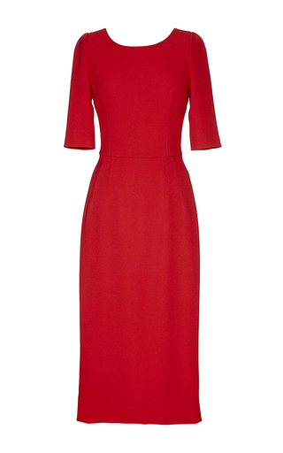 Red mid sleeve mid length dress by DOLCE & GABBANA Now Available on Moda Operandi